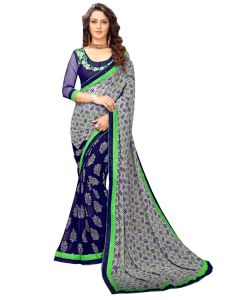 De Marca Grey - Blue Banglori Silk Saree (code - 421-227)