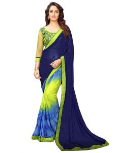 De Marca Blue - Lime Yellow Banglori Silk Saree (code - 421-228)