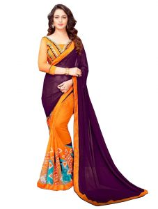 De Marca Purple - Orange Banglori Silk Saree (code - 421-231)