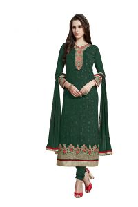 De Marca Turquoise Green Colour Semi Stitched Georgette Dress Material (Code - 422-2010)