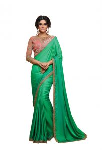 De Marca Green Colour Two Tone Satin Saree (code - 512-12)