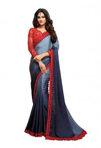 De Marca Blue - Grey Colour Shaded Georgette Saree (code - 512-15)