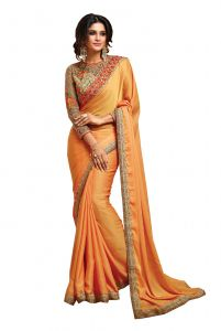 De Marca Light Orange Colour Shaded Two Tone Georgette Saree (code - 512-17)