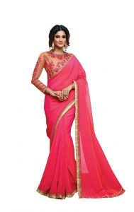 De Marca Pink Colour Two Tone Georgette Saree (code - 512-9)