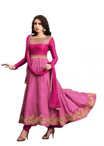 De Marca Pink Slub Satin Unstitched Anarkali Dress Material (code - 514-3062)
