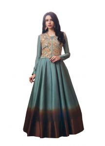 De Marca Grey Tussar Silk Unstitched Anarkali Dress Material (code - 514-3063)