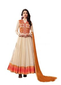 De Marca Cream Silk Unstitched Anarkali Dress Material (code - 514-3065)