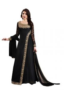 De Marca Black Georgette Unstitched Dress Material (code - 514-3066)