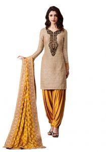 De Marca Beige Khadi Silk Unstitched Dress Material (code - 514-3067)
