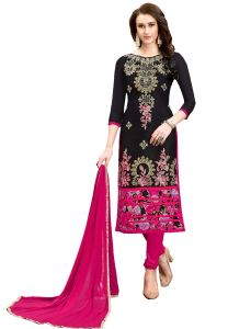 De Marca Black Chanderi Cotton Unstitched Dress Material (code - 515-6001)