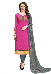 De Marca Pink Chanderi Cotton Unstitched Dress Material (code - 515-6003)