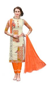 De Marca Off White Chanderi Cotton Unstitched Dress Material (code - 515-6004)