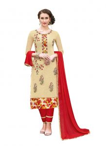 De Marca Cream Chanderi Cotton Unstitched Dress Material (code - 515-6008)