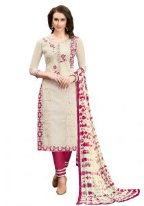 De Marca White Chanderi Cotton Unstitched Dress Material (code - 515-6010)