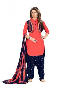 De Marca Orange Glaze Cotton Unstitched Patiyala Dress Material (code - 518-8001)