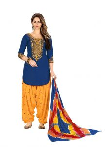 De Marca Blue Glaze Cotton Unstitched Patiyala Dress Material (code - 518-8006)