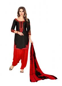 De Marca Black Glaze Cotton Unstitched Patiyala Dress Material (code - 518-8008)