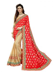 Demarca Red Beige Georgette Silk Half & Half Saree (code - 586-343)