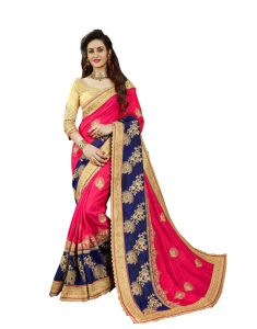 Demarca Rani Pink Navy Blue Art Silk Saree (code - 586-344)