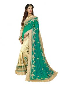 Demarca Green Beige Art Silk Half & Half Saree (code - 586-345)