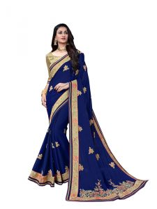 Demarca Blue Art Silk Saree (code - 587-358)