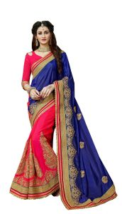 Demarca Blue Pink Art Silk Half & Half Saree (code - 587-359)
