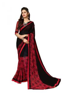 Demarca Red Black Georgette Saree (code - 588-364)