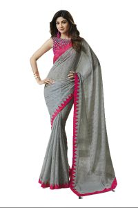 De Marca Grey Colour Chiffon - Brasso Saree (code - 609-2502)