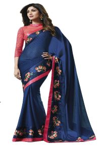 De Marca Blue Colour Satin Saree (code - 609-2508)