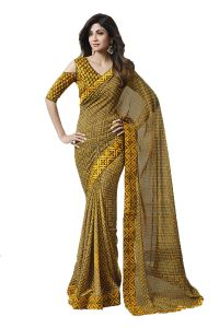 De Marca Yellow - Brown Colour Georgette Saree (code - 609-2510)