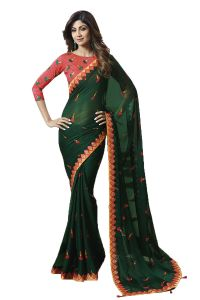 De Marca Dark Green Colour Chiffon Saree (code - 609-2517)