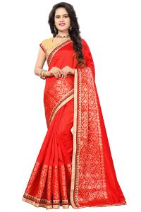 De Marca Red Silk-jacquard Saree - ( Code - 682-10003d )