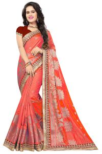 De Marca Orange Silk-jacquard Saree - ( Code - 682-10004b )