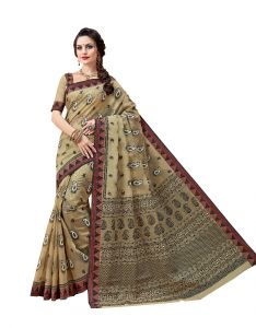 Cotton Sarees - De Marca Beige Cotton Saree (Code - De Marca A6486)