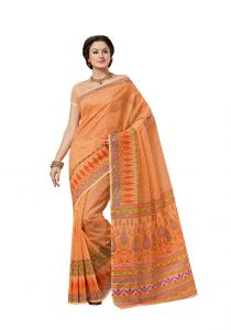 De Marca Orange Cotton Saree (code - Ali6811)