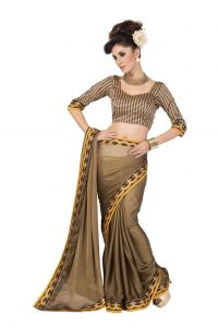 De Marca Georgette_chiffon In Brown Sarees For Women - (code -anu4004)
