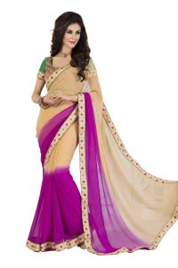 De Marca Georgette_chiffon In Beige_pink Sarees For Women - (code -anu4007)