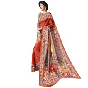 De Marca Art Silk Orange Saree (code - Art15835)