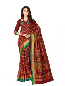 De Marca Red Cotton Saree (code - Cry6522)
