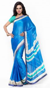De Marca Blue Colour Faux Georgette Saree (product Code - Ctsn1121)
