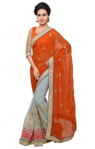 De Marca Grey-orange Colour Faux Georgette Half N Half Saree (product Code - Ctssuhr13908)