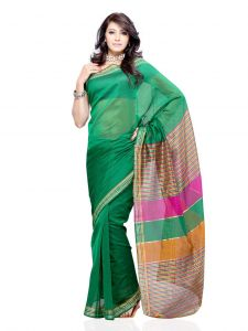 De Marca Cotton Green Saree For Womens - (code -df-186e)
