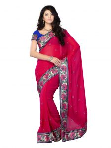 De Marca Georgette Pink Saree For Womens - (code -df-367c)