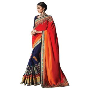 De Marca Maroon,orange,blue Pure Dupion, Silk Saree (product Code - Dul35)
