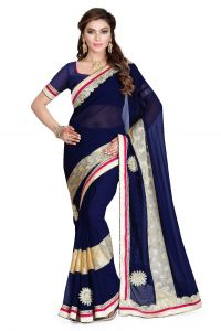 De Marca Royal Blue Faux Georgette Saree (product Code - K-5105)