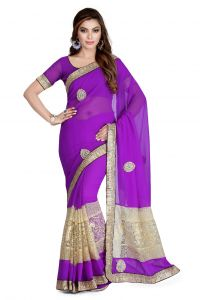 De Marca Purple Faux Georgette Saree (product Code - K-5106)