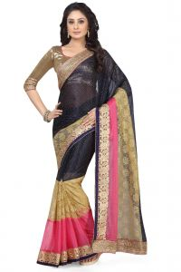 De Marca Navy Blue - Beige - Pink Colour Lycra - Net - Brasso Saree (product Code - K-5140)