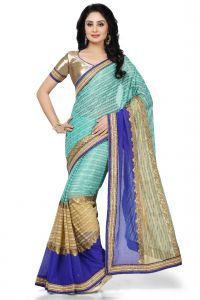 De Marca Sea Green - Beige - Blue Colour Lycra - Faux Chiffon Saree (product Code - K-5145)