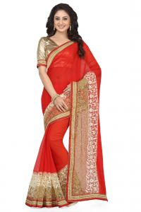 De Marca Red - Beige Colour Faux Chiffon - Net Saree (product Code - K-5147)