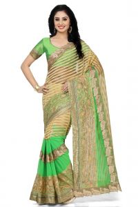 De Marca Beige - Green Colour Net - Brasso - Faux Georgette Saree (product Code - K-5148)